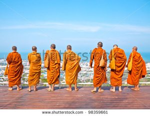 standing monks